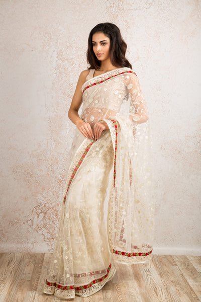 Net embroidered saree R8_305A - Variety Silk House Ltd