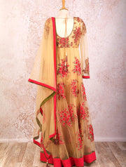 B8/1023 Dupion/net kurta/leggings - Variety Silk House