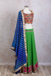 H7/2053 Georgette skirt & embd choli - Variety Silk House Ltd