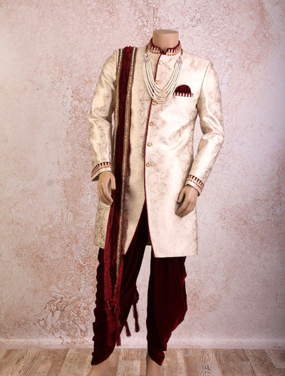 I8/2006A Brocade Sherwani with Pearlwork Border - Variety Silk House
