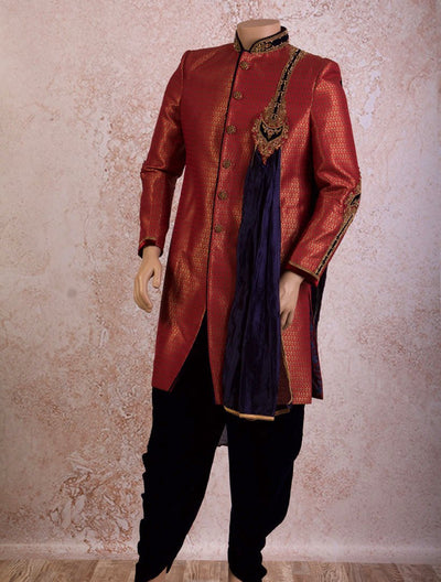 I8/2008 Sherwani Emb Button/Scarf - Variety Silk House