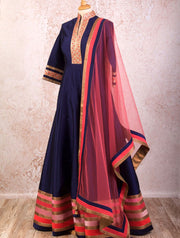 I8/1033 Stripe Border Anarkali - Variety Silk House