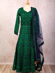 I8/1038 Reshamwork Dress - Variety Silk House Ltd