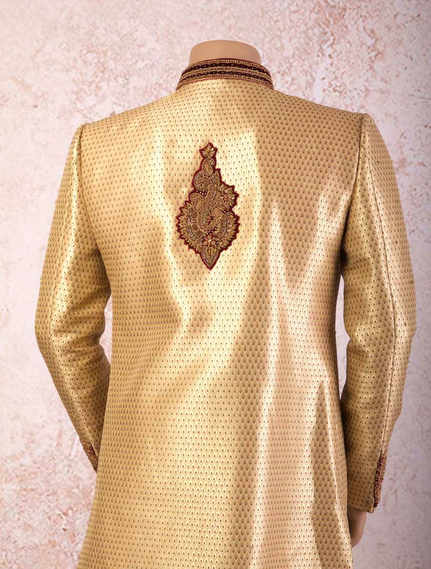 I8/2018 Brocade sherwani - velvet detail - Variety Silk House Ltd