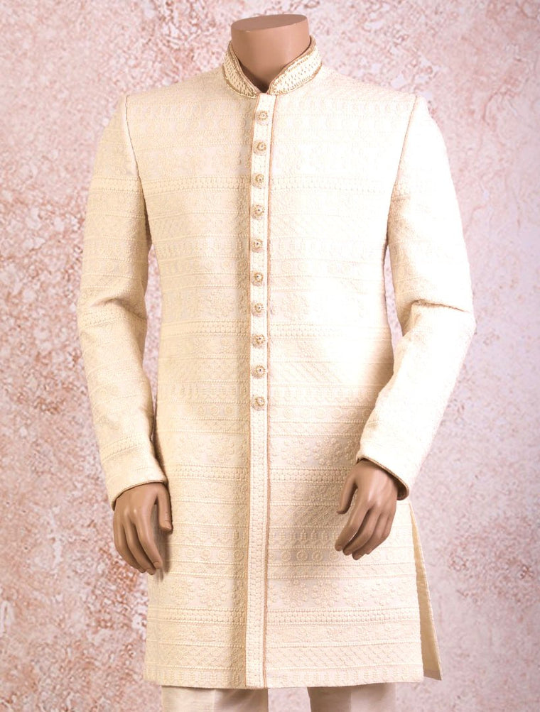 J8/SW6053 Lucknowi Sherwani with Churidar