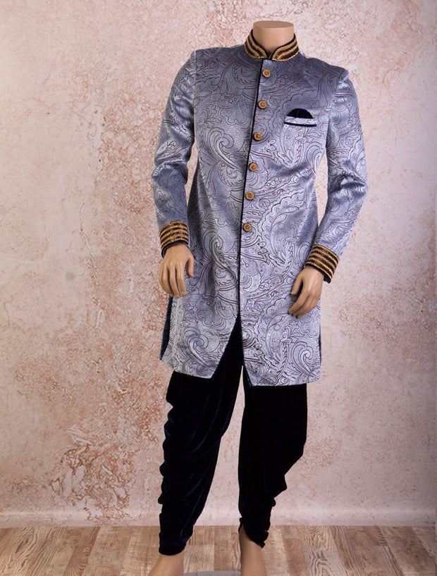 J8S/30 Velvet Patterned Sherwani - Variety Silk House