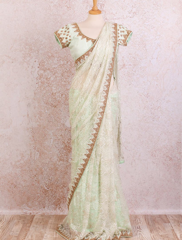 Lace saree/dupion blouse - Variety Silk House Ltd