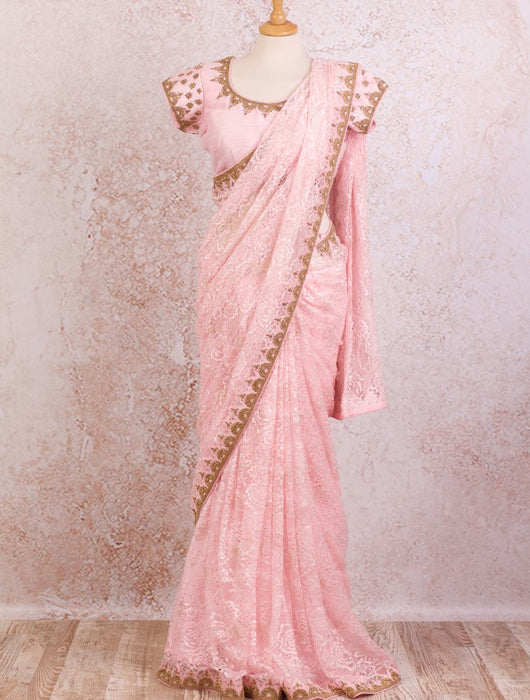 Lace saree/dupion blouse - Variety Silk House