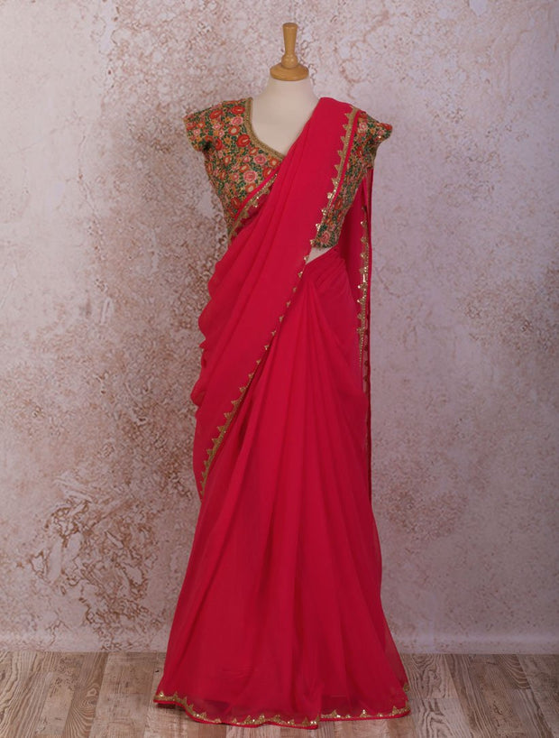 Sequin saree - floral blouse - Variety Silk House