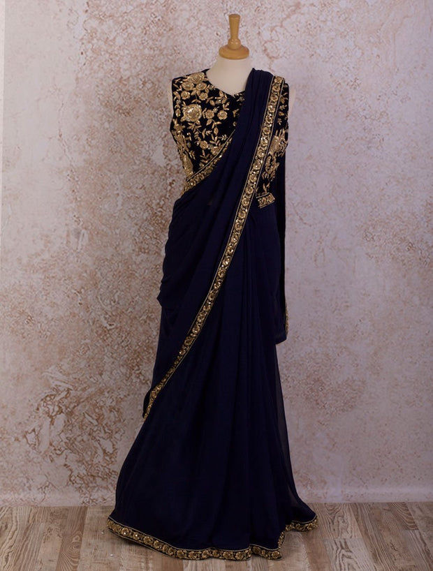 K8/5 Saree & velvet blouse - Variety Silk House