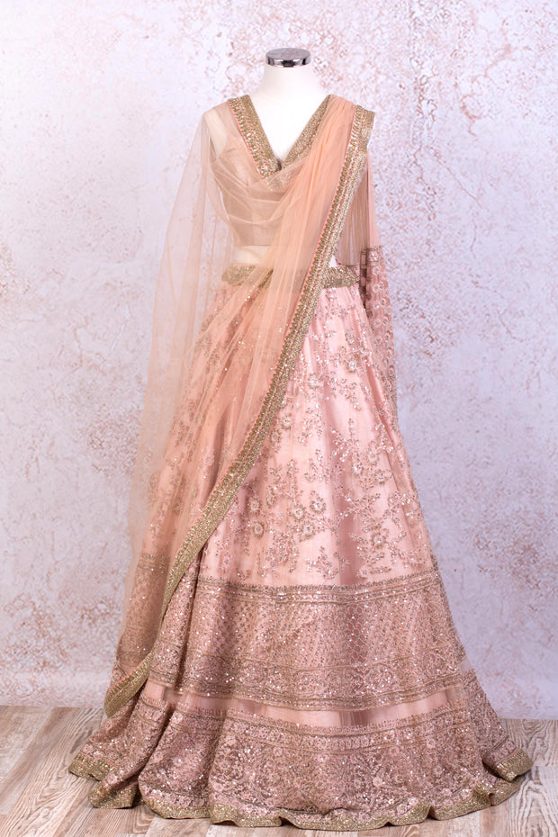 Net embd lengha N8_1177 - Variety Silk House Ltd