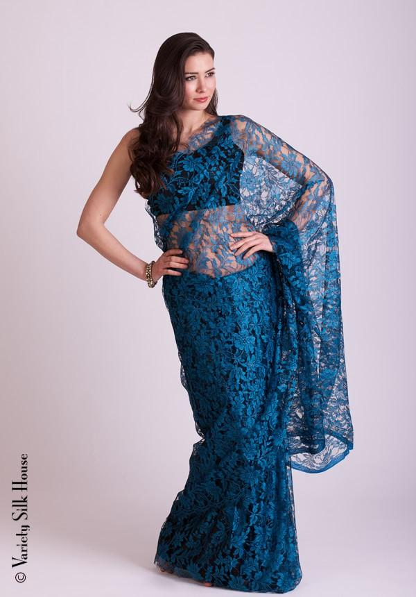 Chantilly Lace Saree With Metallic Threads
