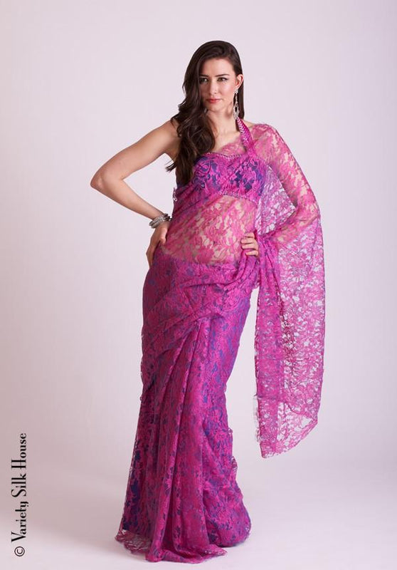 French Chantilly Lace Saree Variety Silk House