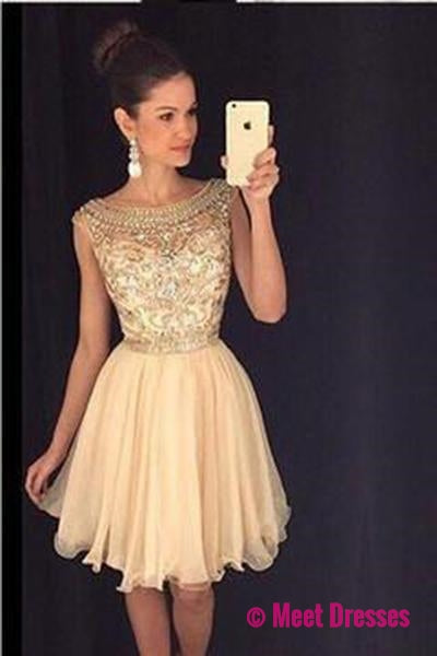 Beaded Homecoming dress,Short Chiffon Cute Sleeveless Tulle Prom Dress PM340