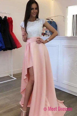 Scoop Detachable Train Pearl Pink Prom Dress with Lace Prom Dresses ...