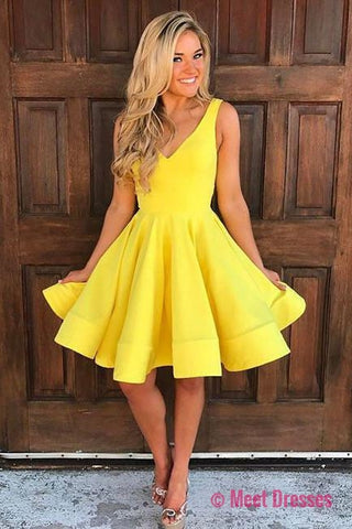 Cute V Neck Yellow Sleeveless Short Homecoming Dresses,A Line Party Dresses PM20
