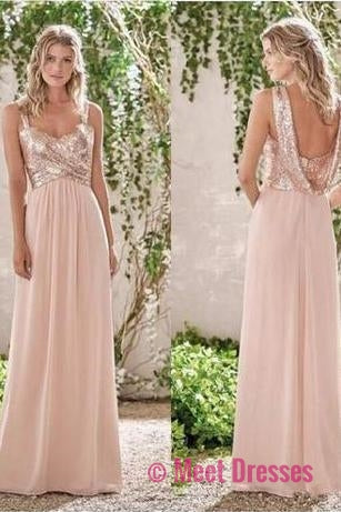 2018 new rose gold bridesmaid dresses a line spaghetti straps rose gold a line spaghetti straps backless sequins chiffon bridesmaid dress pm531 junglespirit Image collections