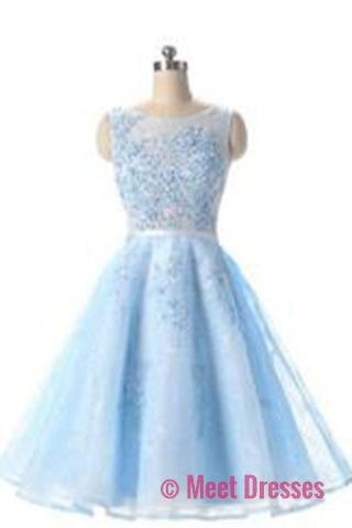 Charming Elegant Light Blue Tulle Prom Dress,Short Homecoming Dress,Prom Dresses uk PM732