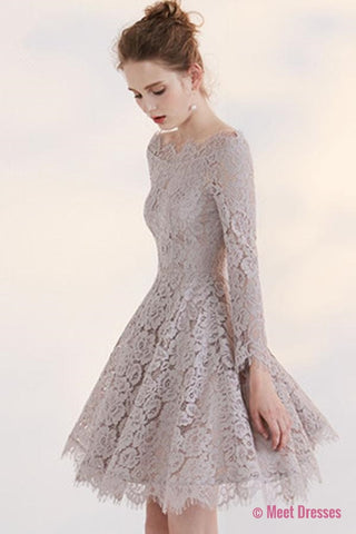 2018 New Arrival Fashion Long SleevesTemperament Homecoming Dress With Lace Appliques PM172