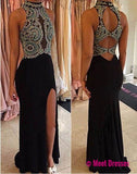 Black Open Back Halter Sleeveless Beads Mermaid Side Slit Cheap Prom Dresss,BD514
