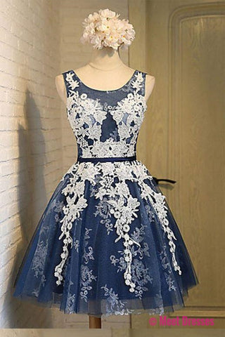 A-line Scoop Knee-length Open Back Navy Blue Organza Homecoming Dress with Appliques PM171
