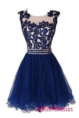 Blue Short Prom Dresses with Sleves