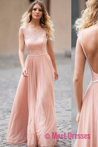 Blush Chiffon A-line Backless Prom Dresses Cap Sleeve Evening ...