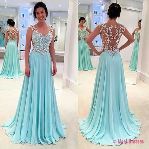 Lace Prom Dresses,Light Sky Blue Prom Dress,Modest Prom Gown,A ...