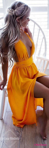 Unique Prom Dress,prom dresses, yellow prom dress, long prom dress,prom dress 2018 PD20188296