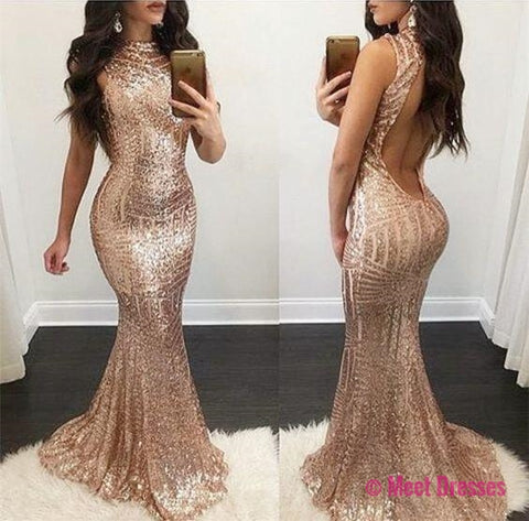 rose gold mermaid evening dress,sequins prom dress,striped sequins dress,open back dress,sparkly dress,sequin gowns PD20188513