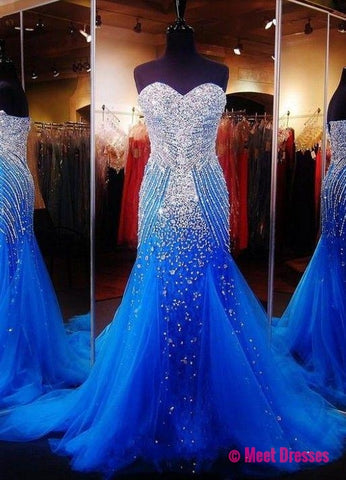 Royal Blue Crystals Mermaid Luxury Prom Dresses Sweetheart Neck Tulle Pageant Dresses PD20188673