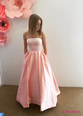 Elegant Prom Dress, Long Prom Dresses, Strapless Homecoming Dress PD20189061