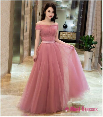 Off Shoulder Dusty Pink Gowns,Long Formal Dresses, Lace-up Prom Dresses 2018 PD20189283