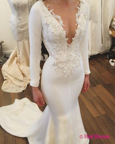 Mermaid Wedding Dress,White Bridal Gowns,Long Sleeves Wedding Dress,V Neck Wedding Dress,Wedding Dress with Appliques PD20189492