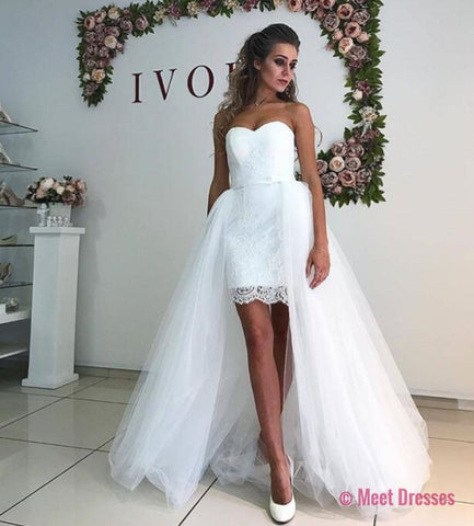 Wedding Dress,Lace Wedding Dresses,Tulle Wedding Dress,White Wedding Gown,Sexy Bridal Dress,Wedding Dress with Detachable Skirt PD20189493