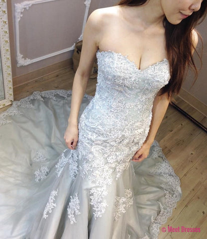 Grey Wedding Dress,Mermaid Bridal Gowns,Long Sexy Wedding Dress,Women Wedding Dress,Wedding Dress Long,Wedding Dress for Women PD20189494