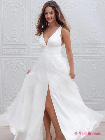 Wedding Dress,White Bridal Gowns,Long A-line Wedding Dress,V Neck Wedding Dress,Wedding Dress with Side Slit,Wedding Dress for Women PD20189589