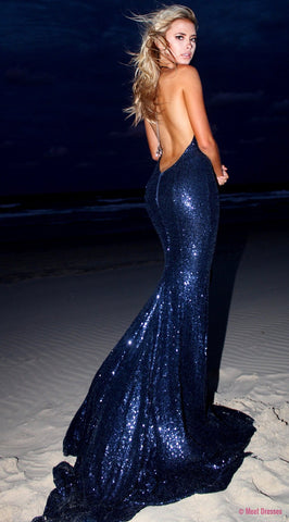 Navy Blue Sequin Prom Dresses Mermaid Long Evening Dresses Backless Formal Gowns Sexy Halter Party Pageant Graduation Dresses PD20189742