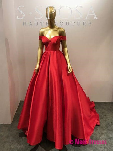 Gorgeous Ball Gown Prom Dress Red,Off The Shoulder Formal Gown,Wedding Dress PD20189663