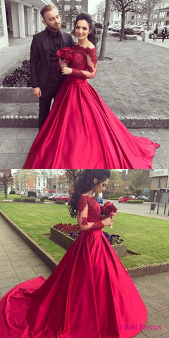 Red Off The Shoulder Long Sleeve Ball Gown Prom Dress,Wedding Dress With Lace Appliques Bodice PD20189764