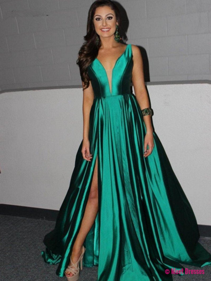 Prom Dress Prom Dresses,Long Green Satin Prom Dresses,Long Formal ...