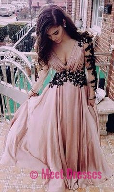 Blush Pink Prom Dresses,Vintage Prom Gown,Women Boho Long Sleeves ...
