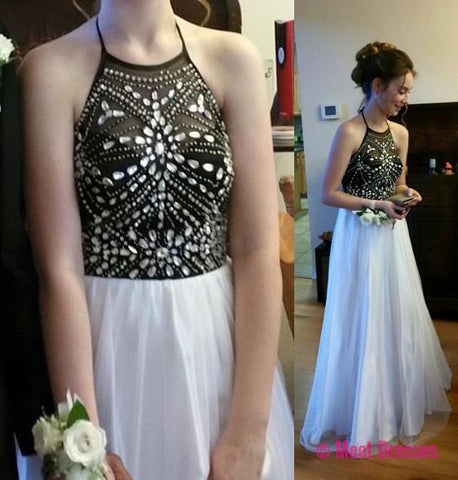 White Prom Dresses,Black Prom Dress,Simple Prom Gown,Sparkly Prom ...