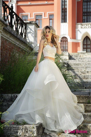 White Wedding Dresses,2 Pieces Wedding Gown,Ruffled Wedding Gowns ...