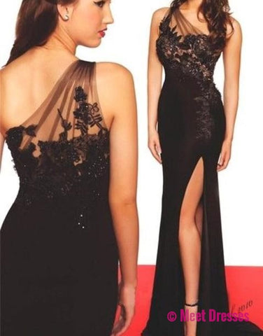 Black Prom Dresses,One Shoulder Prom Dress,Sexy Prom Dress,Simple Prom Dresses,2018 Formal Gown,Lace Evening Gowns,Slit Party Dress,Prom Gown For Teens PD20184656