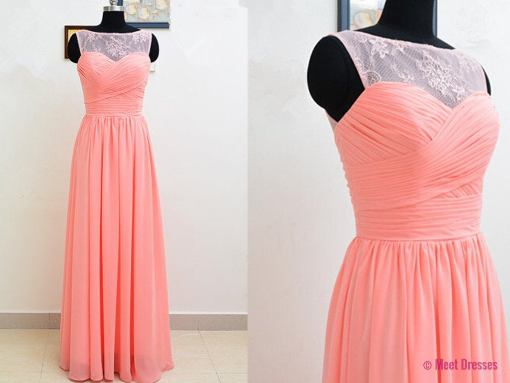 Light Coral Prom Dresses,Chiffon Prom Dress,Lace Prom Gown,Simple ...