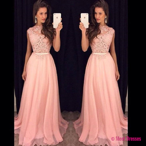 Blush Pink Prom Dresses,A-Line Prom Dress,Lace Prom Dress,Simple Prom Dress,Chiffon Prom Dress,Simple Evening Gowns,Cheap Party Dress,Elegant Prom Dresses,2018 Formal Gowns For Teens PD20184466