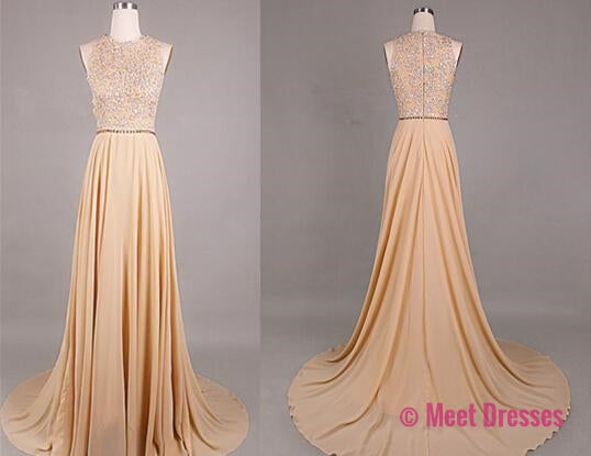 Beading Prom Dresses,Prom Gown,Chiffon Prom Dresses,2018 Evening Gowns,Sexy Formal Gown For Teens Girls PD20184436