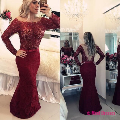 Burgundy Lace Prom Gowns