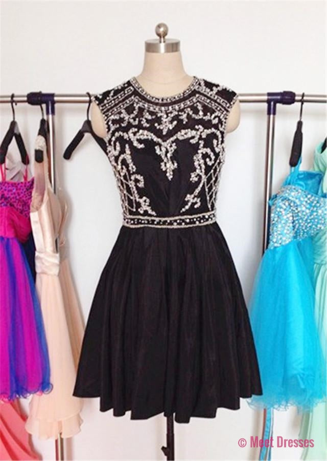 Black Homecoming Dress,Short Prom Gown,Chiffon Homecoming Gowns,Elegant A Line Beading Party Dress,Short Prom Dresses PD20183841